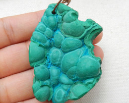 Malachite Gemstone Pendant,Nugget Malachite, 56x37x15mm H8826