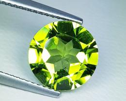 3.22 ct  Breathtaking Gem  Round Cut Top Luster Natural Peridot