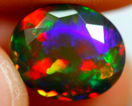 3.11cts Natural Ethiopian Smoked Faceted Black Opal / BIN253