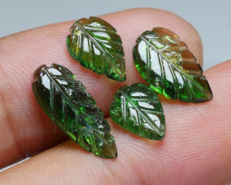 6.05crt BEAUTY GREEN CARVING LEAF TOURMALINE PARCELS-