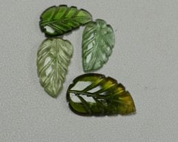4.30CRT LIGHT GREEN CARVING LEAF TOURMALINE PARCELS-
