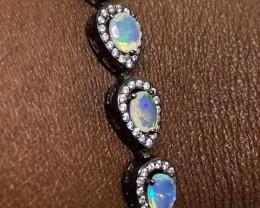 (9) Ravishing Nat 39.3tcw. Fire Opal & CZ Bracelet