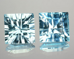 ~PAIR~ 5.01 Cts Natural Sky Blue Topaz 8mm Square Concave Cut Brazil