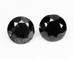 0.23 Cts Natural Coal Black Diamond 2 Pcs Round Africa