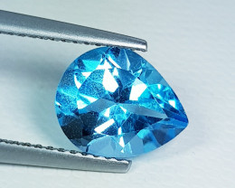 3.05 ct Top Quality Stunning Pear Cut Swiss Blue Topaz