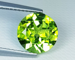 3.26 ct  Breathtaking Gen Round Cut Top Luster Natural Peridot