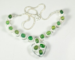 Natural Grade A Jadeite Jade Pendant&925 Silver Necklace