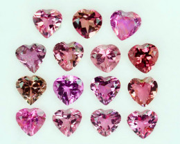 6.32Ct Natural Pink Tourmaline 5mm Heart Calibrated Parcel