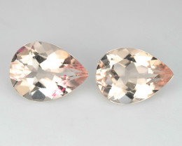 1.56 Cts Natural Peach Pink Morganite 7x5mm Pear Cut 2 Pcs Brazil