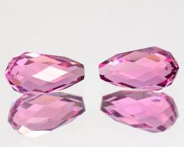 0.85 Cts Glittering Natural Pink Tourmaline Briolette Pair Mozambique