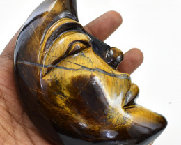 Genuine 1687.00 Cts Golden Tiger Eye Moon Face