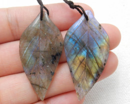 42ct Beautiful labradorite carved leave earrings semi-precious stones E163
