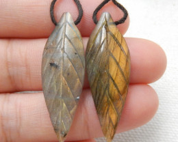 25.5ct Beautiful labradorite carved leave earrings semi-precious stones E16