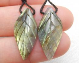 16ct Beautiful labradorite carved leave earrings semi-precious stones E167