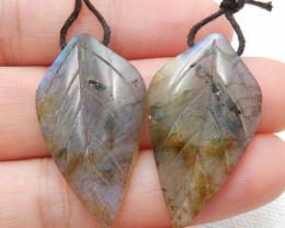 34ct Beautiful labradorite carved leave earrings semi-precious stones E169