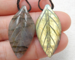 29ct Beautiful labradorite carved leave earrings semi-precious stones E170