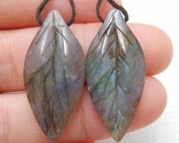 26.5ct Beautiful labradorite carved leave earrings semi-precious stones E17