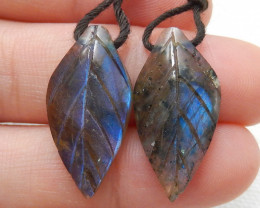 19ct Beautiful labradorite carved leave earrings semi-precious stones E171