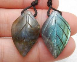 22ct Beautiful labradorite carved leave earrings semi-precious stones E176
