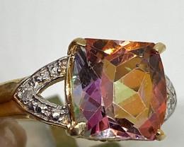 (LBA/E)    $1650 Nat 4.75 cts. Genuine Azotic Topaz & Diamond Ring 10K