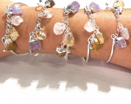 Parcel 5 x Raw Multi Gemstone swing 4 Pc Bracelet - BR 903