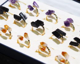 x15 Set Raw Citrine, Tourmaline & Amethyst Gold Plated Rings - BR 922
