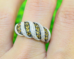 Natural Citrine 925 Sterling Silver Ring Size 7 (SSR0565)