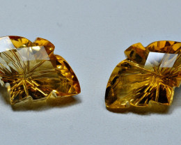 11.45CRT BEAUTY CARVING CUT PAIR CITRINE-