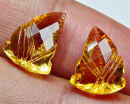 6.90CRT BEAUTY CARVING CUT CITRINE PAIRS-
