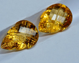 9.30CRT BEAUTY CARVING CUTT YELLOW CITRINE PAIRS-