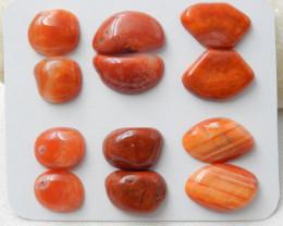6pairs Natural Irregular Red Agate Gemstone Cabochons E163