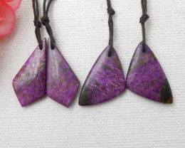 2pairs Natural Purple Jasper earrings ,Triangle earrings ,Designer Making E
