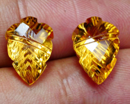 7.75CRT BEAUTY PAIR CARVING CUT MOTIF YELOW CITRINE-
