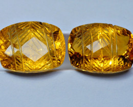 10.75CRT BEAUTY CARVING CUT CITRINE PAIR-