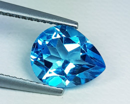 2.85 ct Top Quality Stunning Pear Cut Swiss Blue Topaz