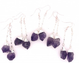 5 x Terminated Point Amethyst Gemstone Drop Earrings - BR 935