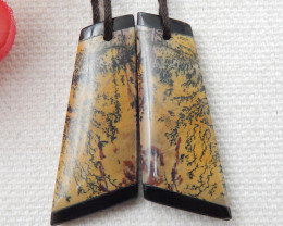 New Natural Chohua Jasper,Obsidian Intarsia Earring Pair E170