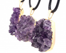 3 Amethyst Druze Cluster Gemstone , Pendant  BR 2236
