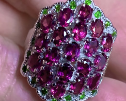 Sparkling Pink Rhodolite Garnet Chrome Diopside Ring Size 7