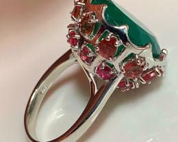 A Dazzling Aventurine Tourmaline Gem .925 Sterling Silver Ring