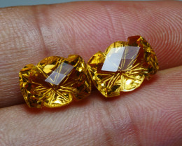 6.15CRT BEAUTY PAIR CARVING CUTT YELLOW CITRINE
