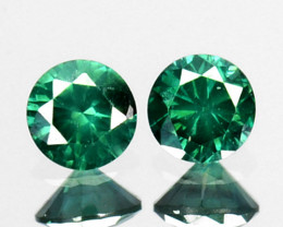 ~PAIR~ 0.08 Cts Natural Diamond Flashing Green 2.2 mm Round Africa