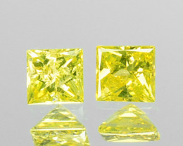 0.08 Cts Natural Diamond Golden Yellow 2Pcs Princess Cut Africa
