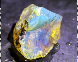 Exquisite Natural Clear Sky Blue Dominican Amber Rough Specimen  44cts