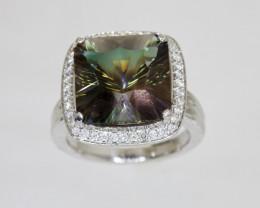 9ct Bicolor Green/Amber Sunstone Ring with Diamonds (S606R)