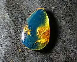 Premium Clear Sky Blue Amber .925 Sterling Silver Polished Stone 21x14x5mm