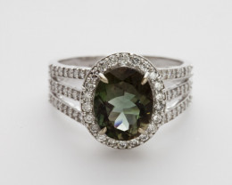 2.4ct Green Sunstone, White Gold Ring with Diamonds (S649R)