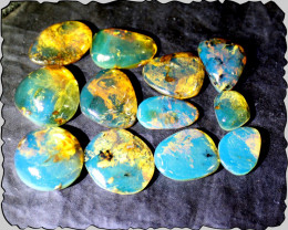 Wholesale lot 12 Dominican sky Blue Green Amber Cabochons 12g