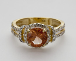 1.4ct Peach Sunstone, Gold Ring with Diamonds (S739R)