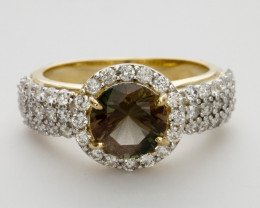 1.7ct Green Sunstone, Gold Ring with Diamonds (S814R)